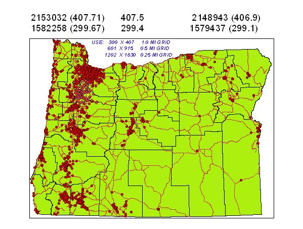 Details of data input into and Evenue Extension grid mapping tool for statewide analysis of cancer