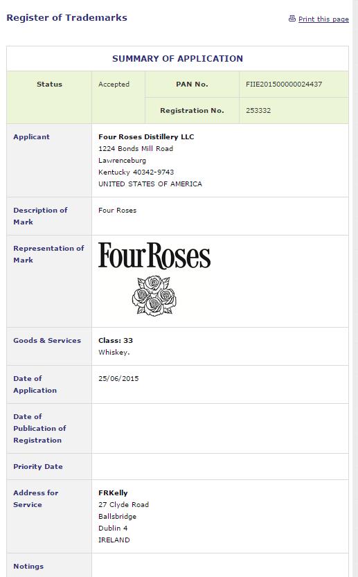 Four Roses Whiskey Ireland Trade Mark