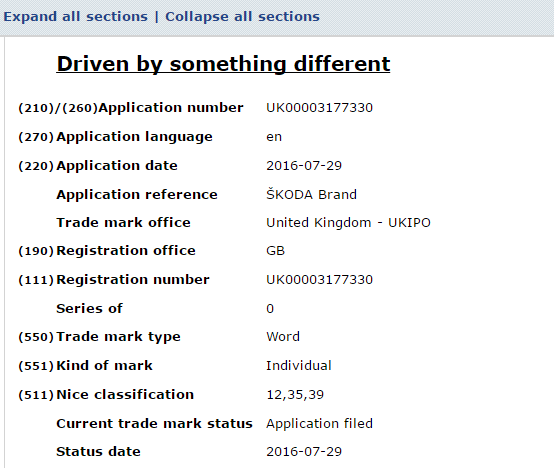 Driven By Something Different Trademark Application
