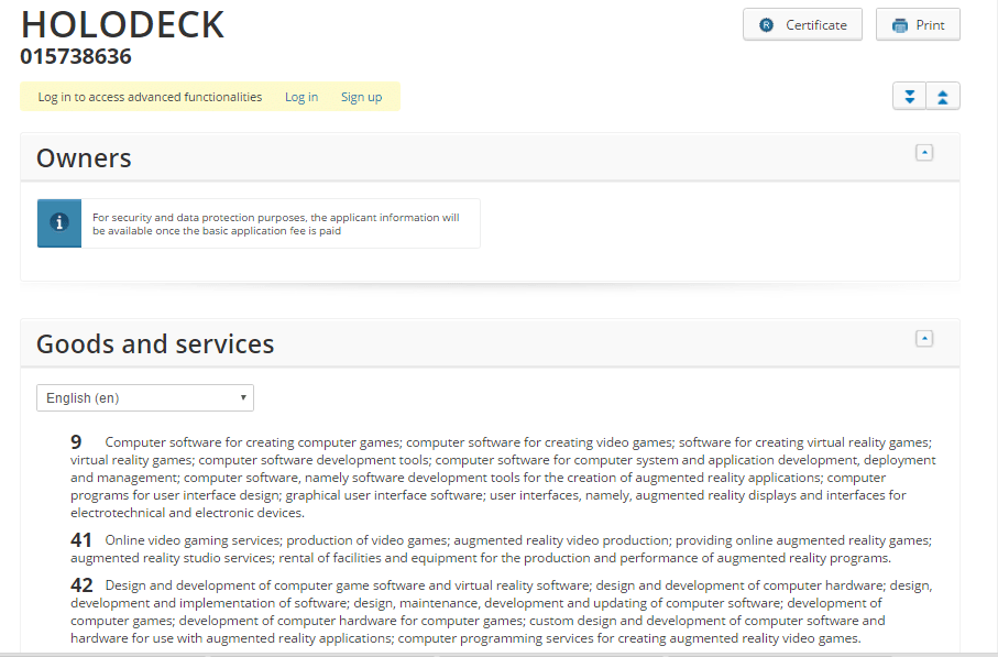 holodeck trademark details