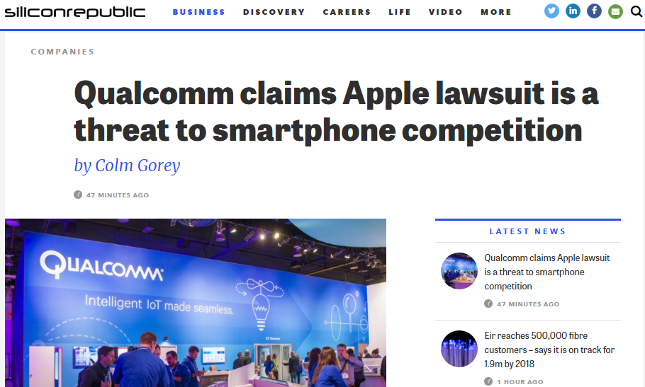's Lawsuit Against Qualcom In China #SiliconRepublic #Qualcom #Apple