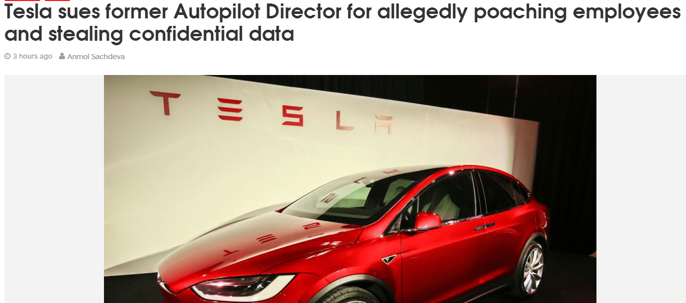 Tesla Sues Former Autopilot Director For Allegedly Poaching Employees And Stealing Confidential Data #Tesla # Autopilot #Sue