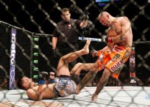 A frustrated 'Cowboy' Cerrone literally kicked Myles Jury's ass repeatedly in the final seconds of the third round.