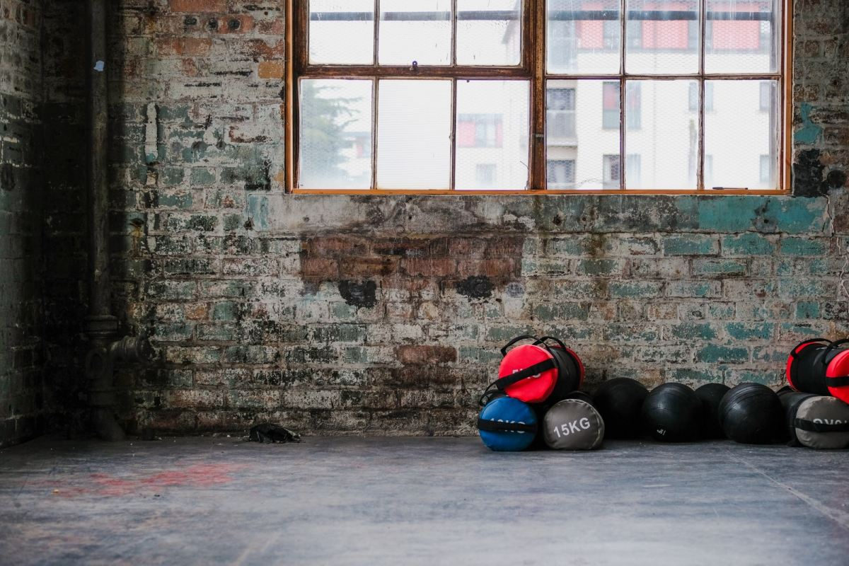 weight bags on the floor near wall