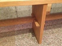 white oak bench joinery detail