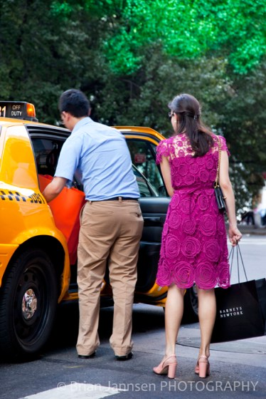 Shopping Shoppers Yellow Taxi Cab New York City