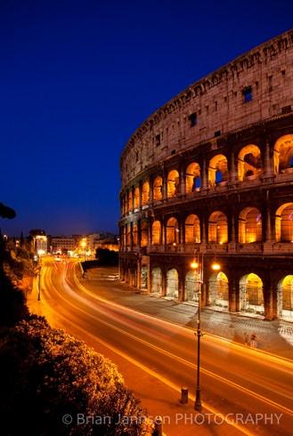 Roman Coliseum Rome Italy Twilight