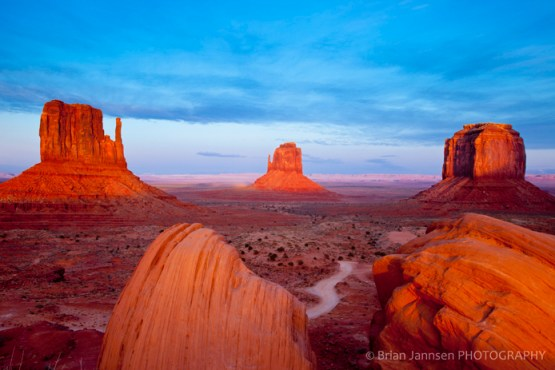 Sunset Mittens Merrick Butte Monument Valley Arizona