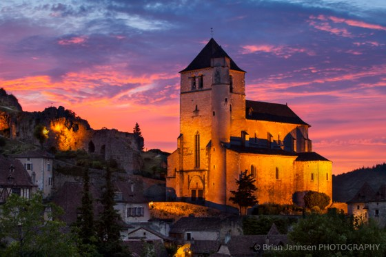 Sunset Eglise Church Saint Cirq Lapopie Lot Valley France