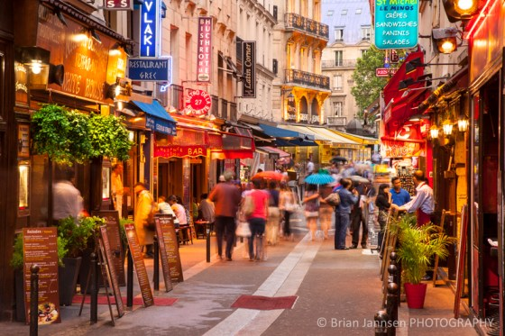 Shops tourists Rue Saint-Severin Latin Quarter Paris France