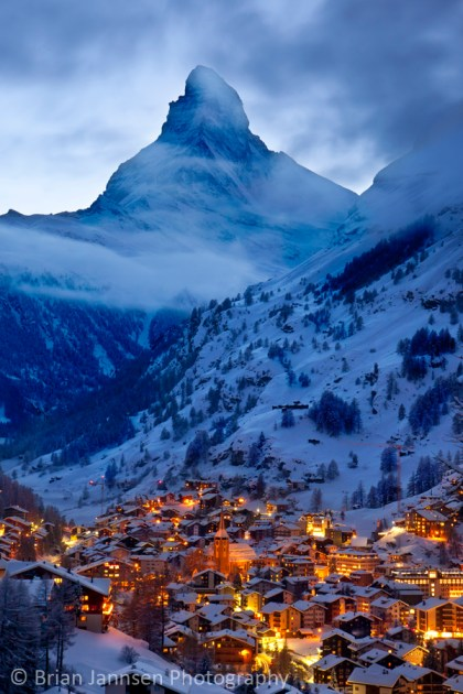 Twilight over Zermatt Switzerland