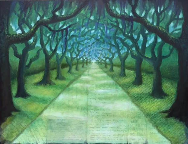 Walking into a tunnel of trees.