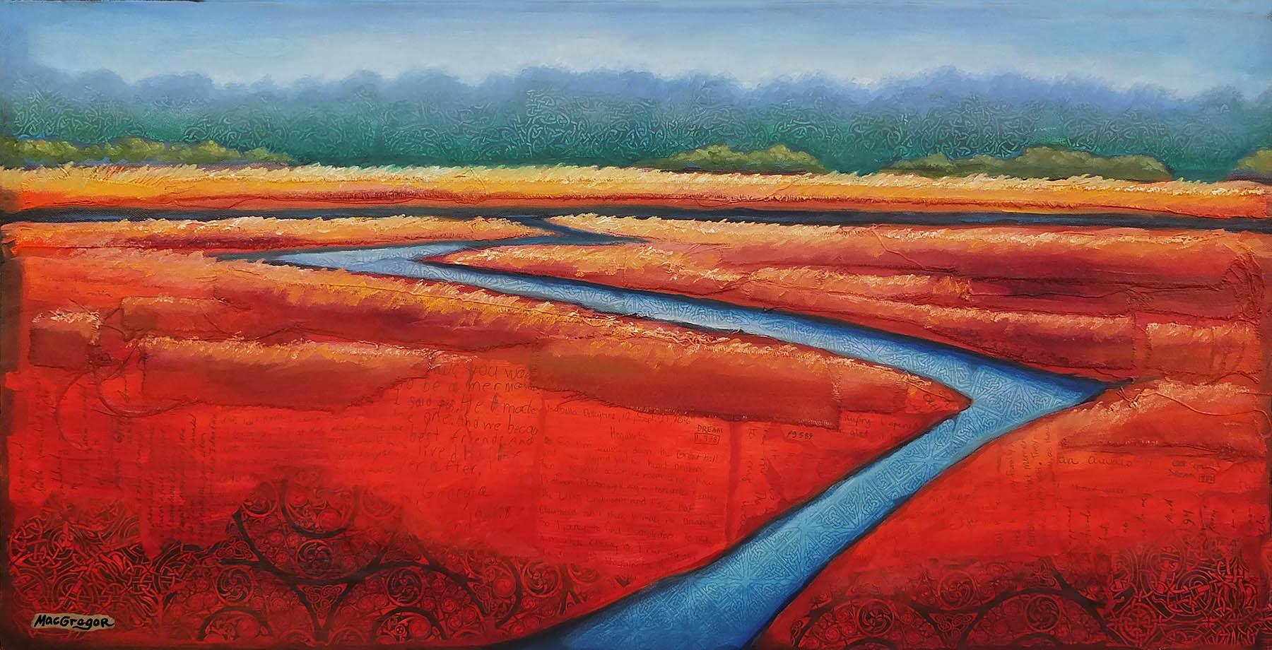 Georgia Original painting of marsh a marsh in Savannah Savannah painting. Marsh View from the Pool: Original 7x10in watercolor painting