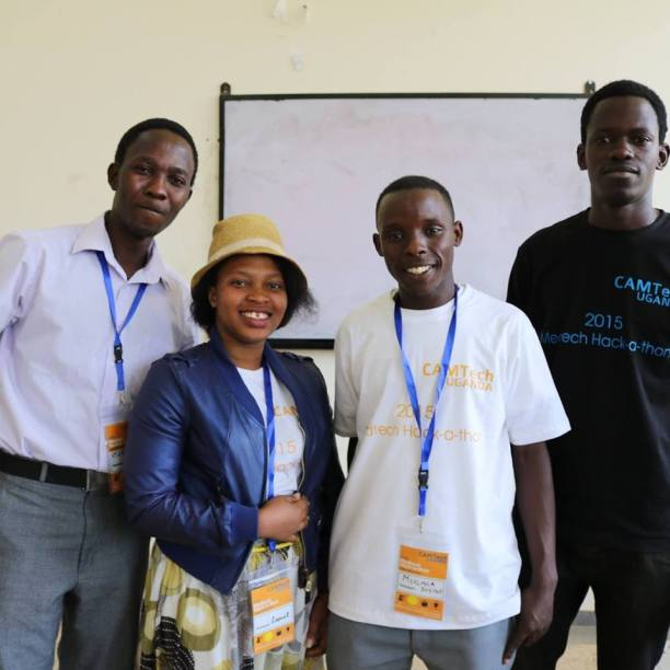 At CAMTech Uganda in Mbarara University -L-R: Brian Matovu (MUK), Lynette Ampiire (MUST), Julius Mugaga (MUK) and Solomon Oshabaheebwa (MUK)
