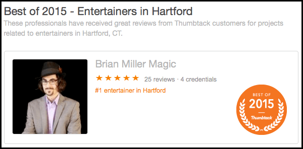 "Local Magician Awarded ""Best of 2015"" and Named #1 Entertainer in Hartford"