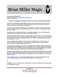 Connecticut magician Brian Miller Navy Tour November 2016 press release thumbnail