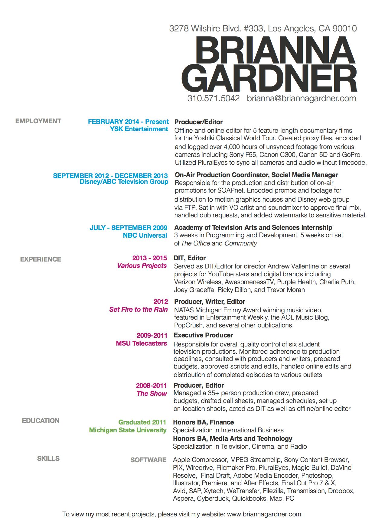 Resume | Offical Site of Editor Brianna Gardner