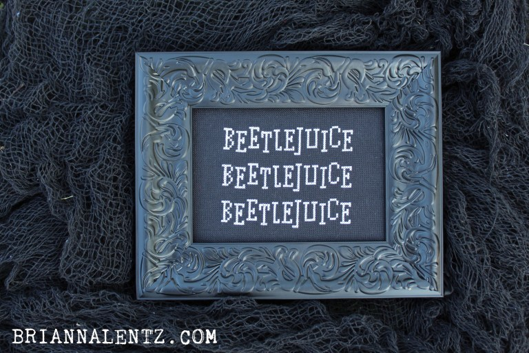Photo of Beetlejuice downloadble free cross stitch pattern