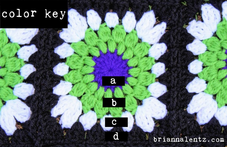 Beetlejuice Granny Square Color Key