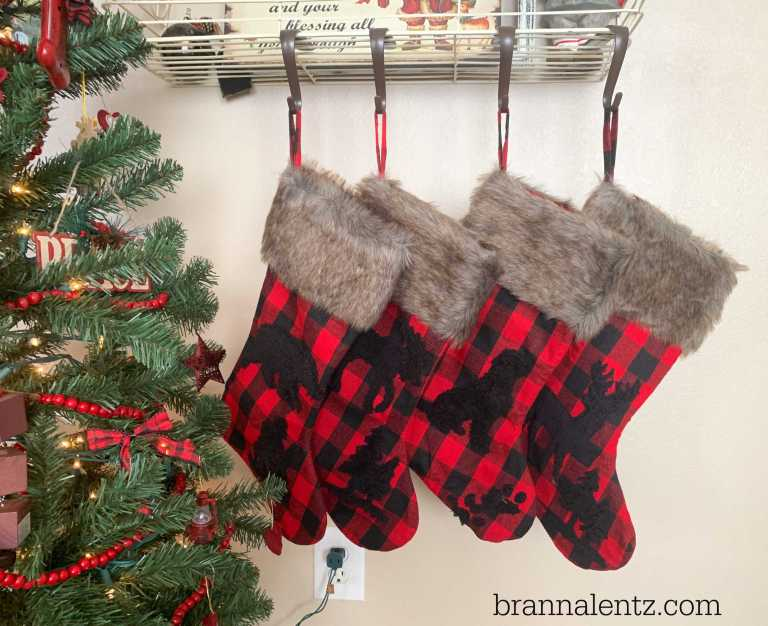 Rustic Tree with Buffalo Plaid Stockings
