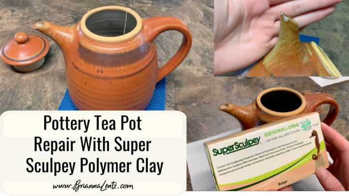 Pottery Tea Pot Repair With Super Sculpey Polymer Clay