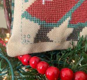 Brianna Lentz 2020 Prairie Schooler Cross Stitch Finish Close Up of Initials