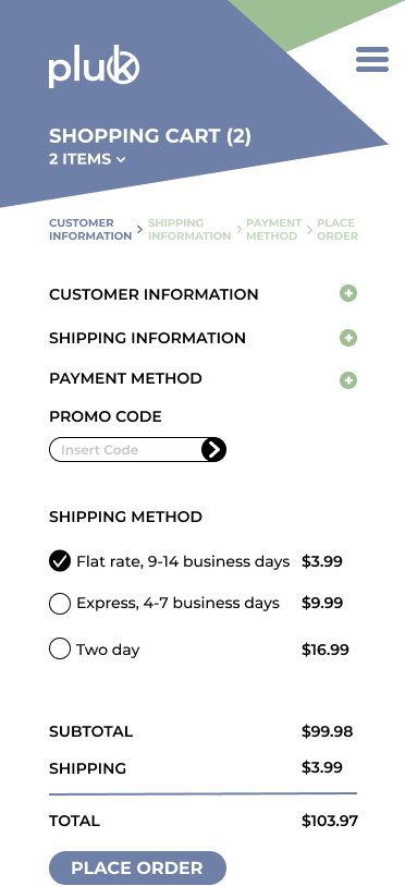 PLUK mobile site checkout screen
