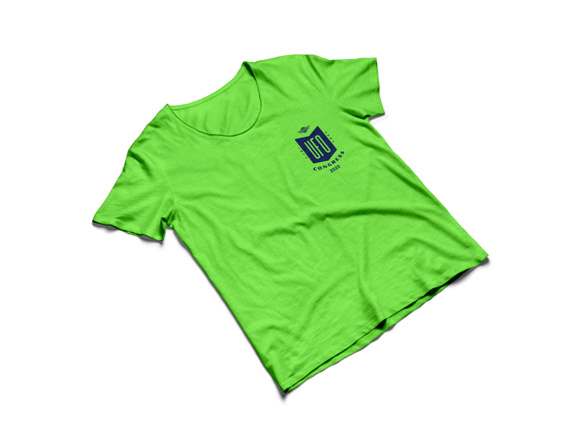green shirt with UFO logo on frocket
