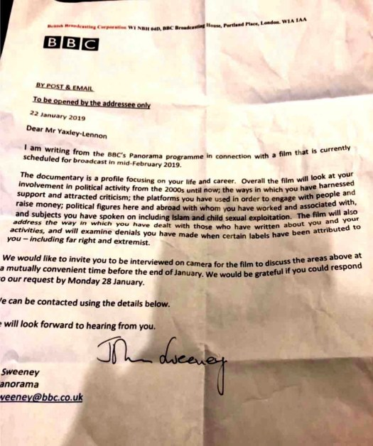 "BBC's letter telling Tommy Robinson he is supposed to be the subject of an act of ""journalism"" committed by the BBC."