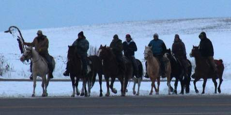 The eighth annual 38+2 Dakota Memorial Horse Ride passed through the Redwood area this week on its way to Mankato to commemorate the Dakota warriors hanged in 1862. Photo: Redwood Falls Gazette, Creative Commons License.