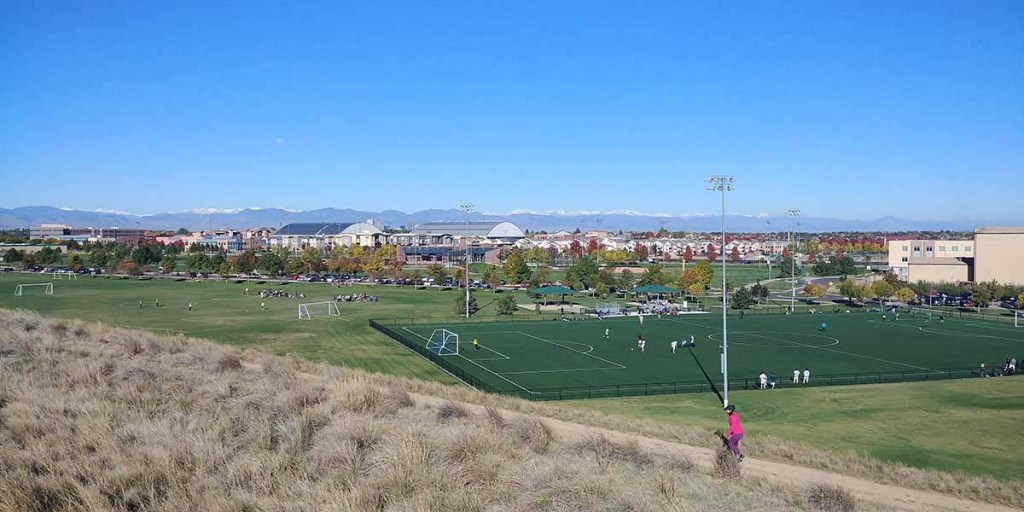 Looking out over Lowry Sports Complex in Denver, CO.