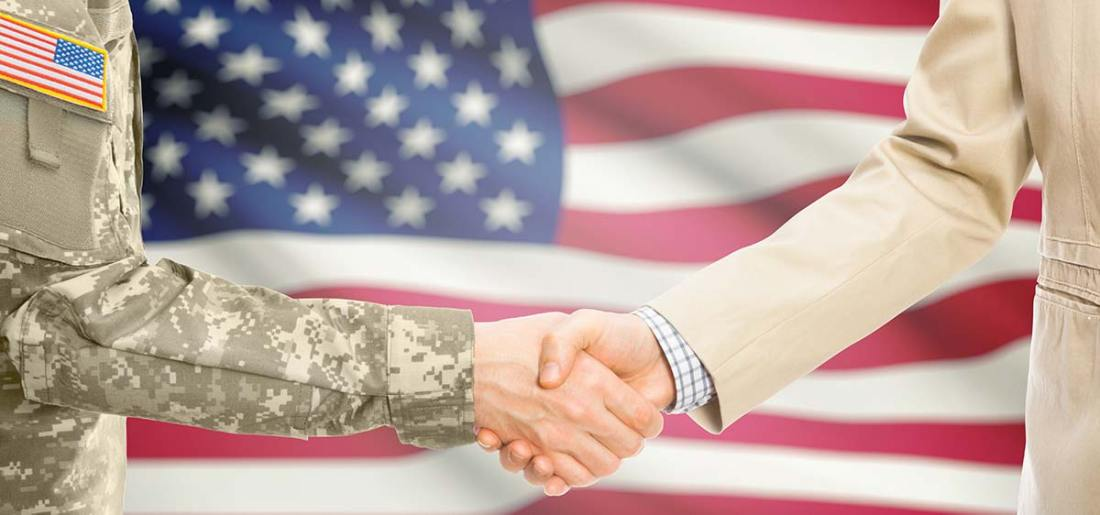 Handshake with American Flag