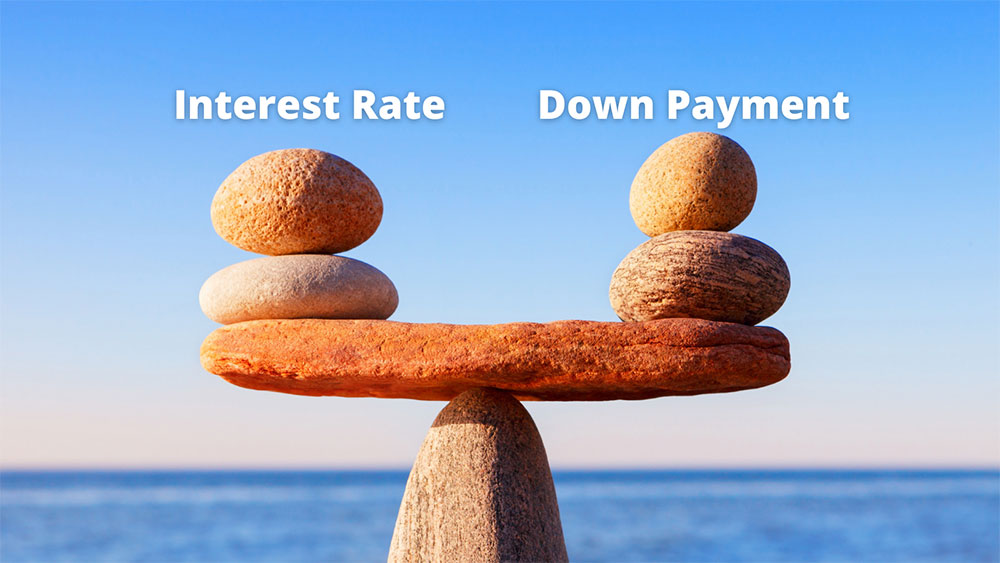 Rocks balancing on each other to represent a scale as though you are weighing the options between down payments and interest rates.