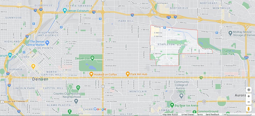 map view of stapleton, one of the best neighborhoods in denver, with the neighborhood highlighted in Google maps.