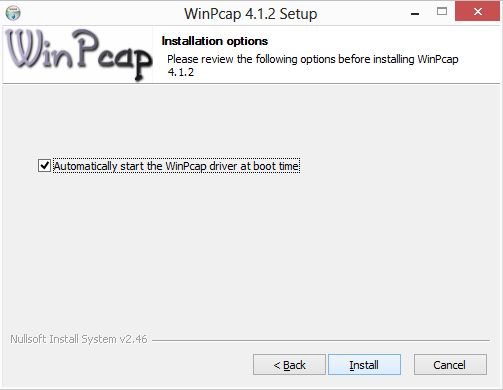 Automatically start winpcap-boot-time