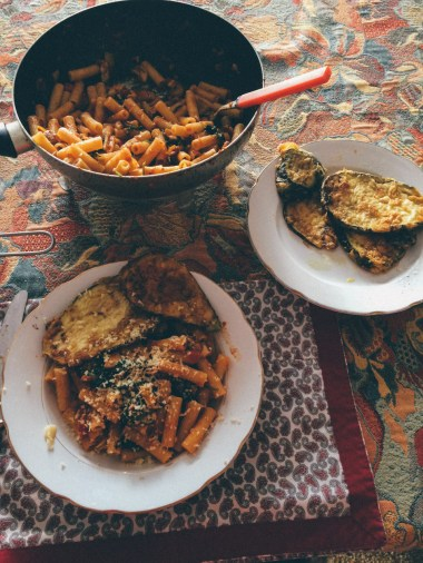 Homemade pasta & eggplant in our apartment in Genova.