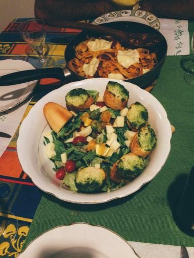 Homemade salad with Genovese pesto.