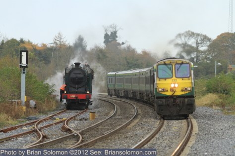 Railway Preservation Society Ireland's 461 at Sallins overtaken by Dublin-Cork train.