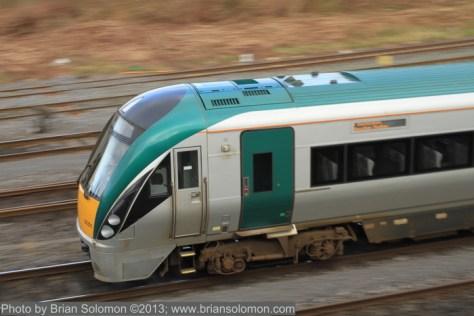 Irish Rail ICR near Islandbridge, Dublin, February 18, 2013. Canon 7D with 40mm pancake lens; ISO 200, f11 at 1/30th second.
