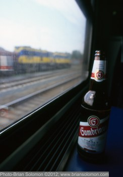 Gambrinus beer on an eastward CD train.