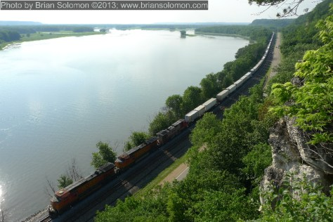 A BNSF intermodal train along the Mississippi River on June 25, 2010.