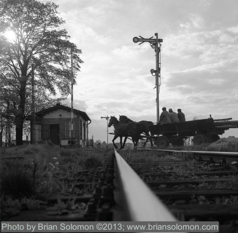 Polish scene with horses and railway tracks.