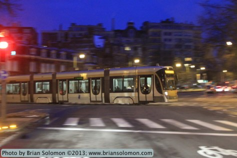 Tram at night.