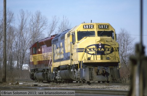 Santa Fe F45 5972 at N Fond du Lac wis March 11 1995 by Brian Solomon 234116_2