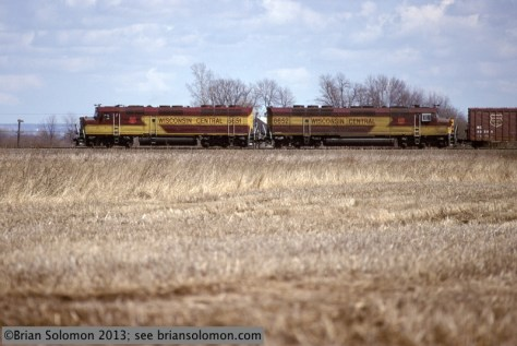 This broadside view of a northward WC freight in Spring 1996 demonstrates the length difference between the leading F45 and trailing FP45.