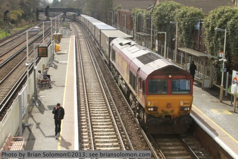 An EWS Class 66 diesel leads a northward container train through the Overground station at Wandsworth Road on April 22, 2013. Canon EOS 7D photo.