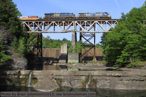 Freight train crosses bridge at Frenchs Hollow, New York.