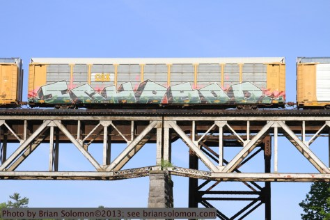 Graffiti on railway car.