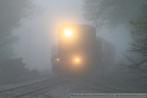 Train in fog.