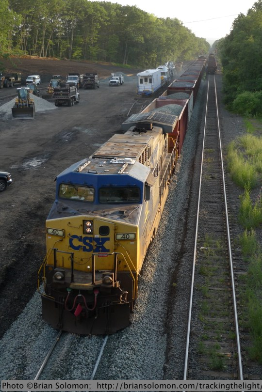CSX ballast train at East Brookfield. Lumix LX3 photo.